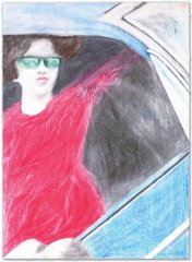 James-Gill--WOMAN-WITH-RED-DRESS-IN-BLUE-CAR--Serigraphie-75x55cm.jpg
