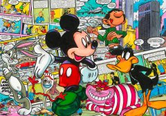 Robert-Sgarra--MICKEY-AND-DUFFY-AND-BUNNY--Mischtechnik-auf-Alu--98X140CM.jpg